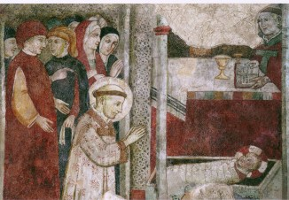 Detail from a fresco depicting St. Francis adoring the Christ Child at the first Christmas creche (Greccio).